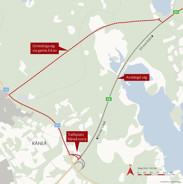 Karta omledningsväg E4 Råneå