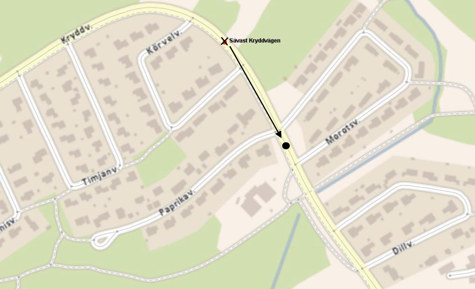 Kartbild Hållplats Morotsvägen Sävast