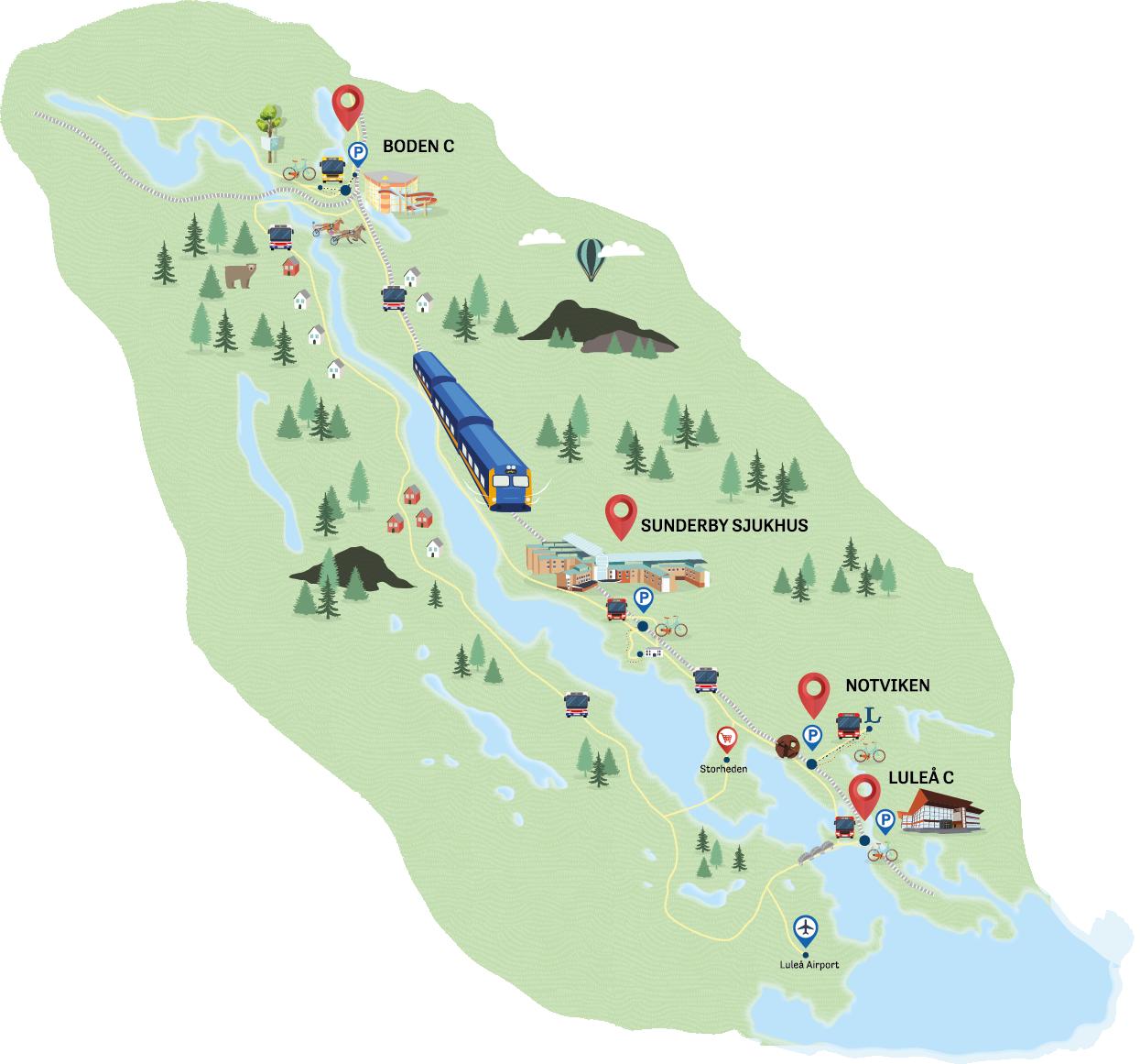 Karta tågpendelstation mellan Luleå och Boden