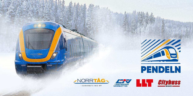 Tåg på snöig räls. Logos för Pendeln, Norrtåg, Länstrafiken Norrbotten, LLT och Citybuss