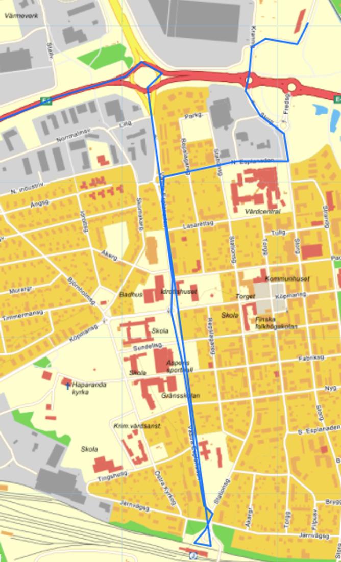 Karta Haparanda centrum