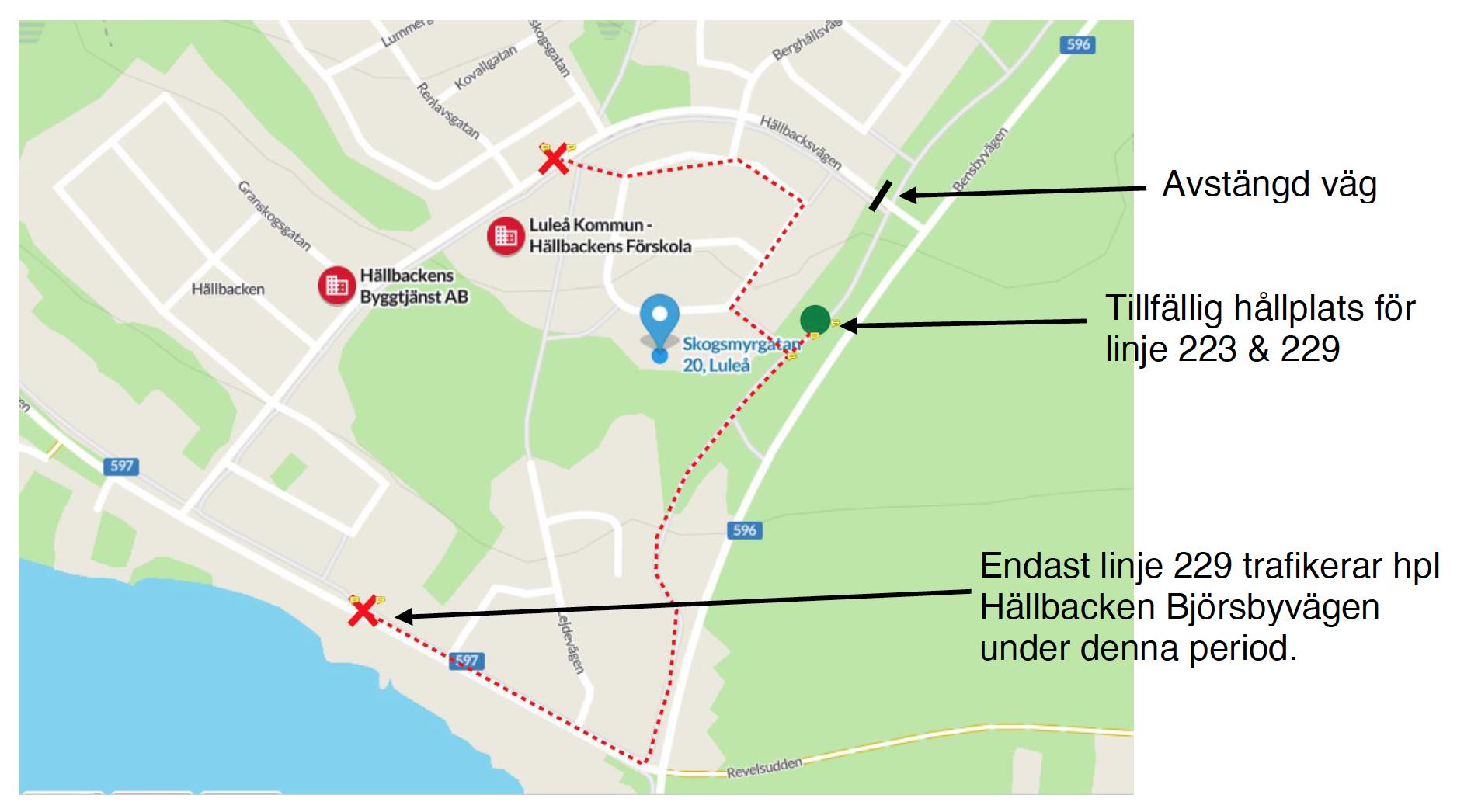 Karta tillfälliga hållplatser