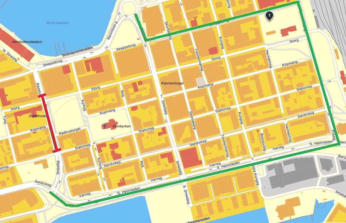 Karta avstängning Rådstugatan